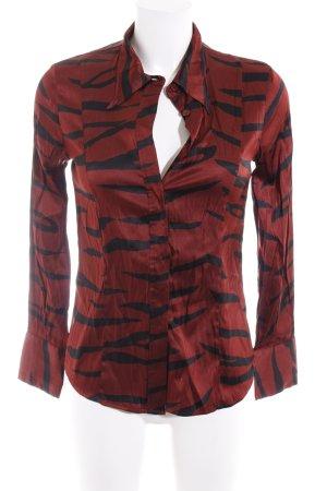 Ganni Langarm-Bluse braunrot-schwarz abstraktes Muster klassischer Stil