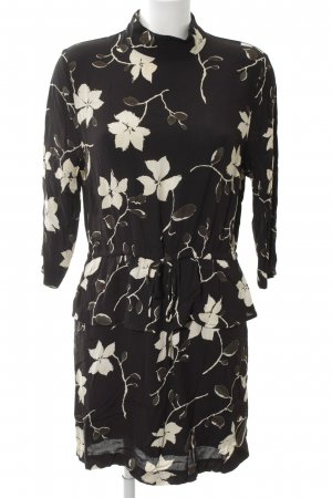 Ganni Langarmkleid schwarz-wollweiß Blumenmuster Elegant