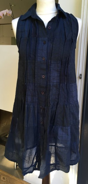 * GANNI * leichtes Hemdkleid dunkle blau dezentes Muster Knöpfleiste Baumwolle  34 36 XS S