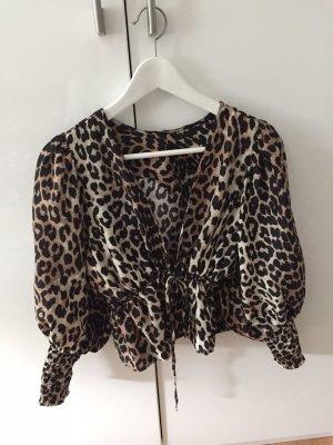 Ganni Leopardenmuster Bluse mit Puffärmeln