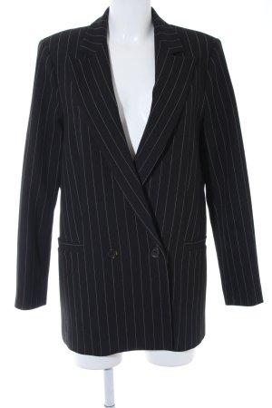 Ganni Long-Blazer schwarz-weiß Streifenmuster Brit-Look