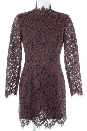 Ganni Kanten jurk roodbruin-zwart elegant