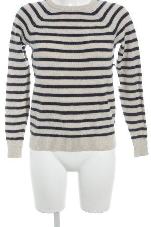 Ganni Pull tricoté crème-bleu foncé rayures horizontales style décontracté