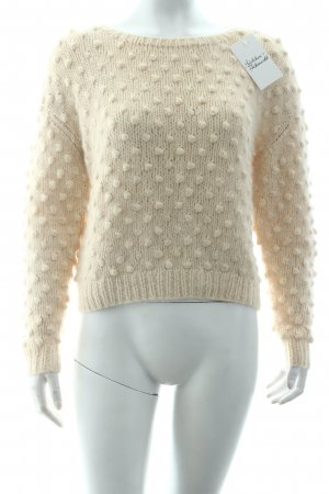 Ganni Strickpullover creme Punktemuster Casual-Look