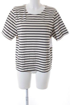 Ganni T-Shirt wollweiß-schwarz Streifenmuster