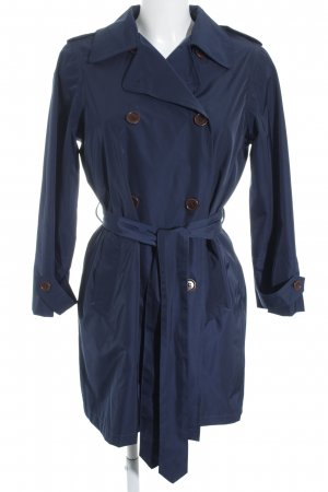 Ganni Trenchcoat dunkelblau Glanz-Optik