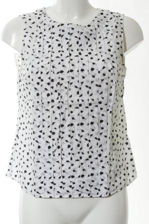Gant ärmellose Bluse weiß-schwarz Allover-Druck Business-Look