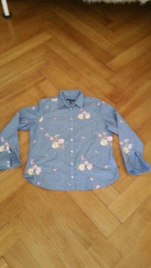 Gant bestickte Baumwollbluse mit floralem Muster in jeansblau Größe 48