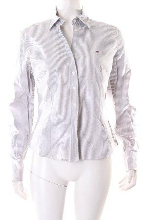 Gant Bluse weiß-hellgrau Streifenmuster klassischer Stil