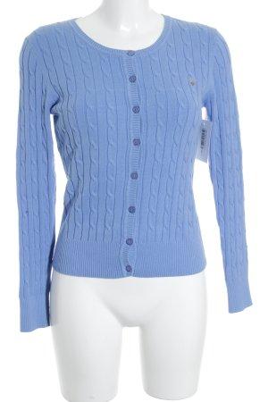 Gant Cardigan kornblumenblau Zopfmuster Casual-Look
