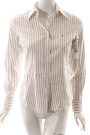 Gant Hemd-Bluse weiß-beige Streifenmuster klassischer Stil