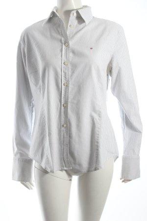 Gant Hemd-Bluse weiß-hellgrau Streifenmuster klassischer Stil