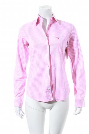 Gant Hemd-Bluse weiß-rosa Karomuster Casual-Look