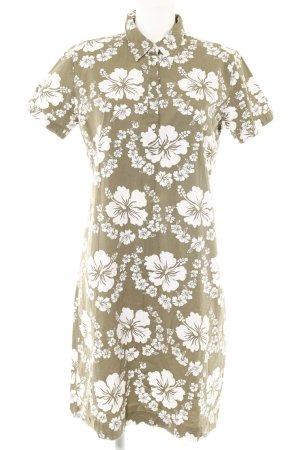 Gant Hemdblusenkleid weiß-khaki Blumenmuster Beach-Look