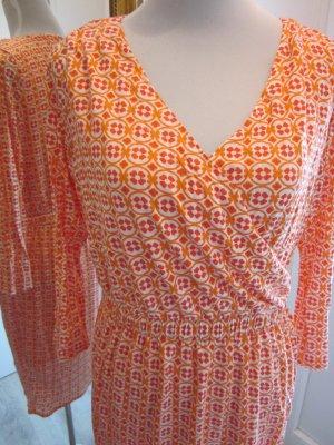 Gant Kleid Langarm Leicht Orange Weiss Gr 40