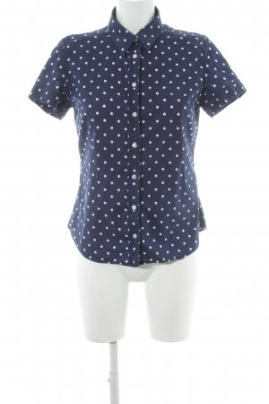 Gant Kurzarm-Bluse dunkelblau-weiß Punktemuster Casual-Look