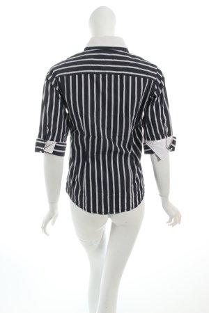 Gant Kurzarm-Bluse dunkelblau-weiß Streifenmuster Business-Look