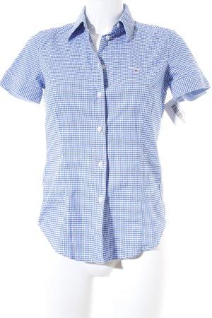 Gant Kurzarm-Bluse weiß-blau Karomuster Casual-Look