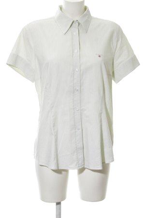 Gant Kurzarmhemd wollweiß-hellgrau Streifenmuster Casual-Look