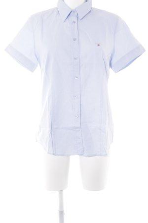 Gant Shirt met korte mouwen lichtblauw-wit Webpatroon zakelijke stijl