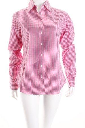 Gant Langarm-Bluse pink-weiß Karomuster Casual-Look