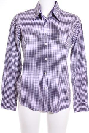 Gant Langarm-Bluse weiß-dunkelviolett Karomuster klassischer Stil