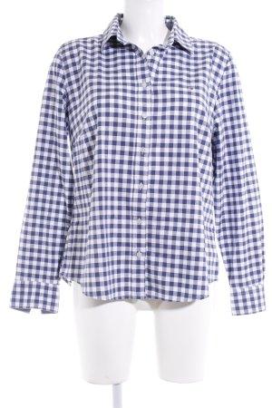 Gant Langarmhemd weiß-blau Karomuster Casual-Look
