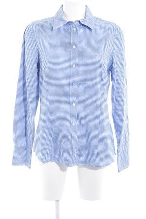 Gant Langarmhemd weiß-blau Karomuster Logostickerei