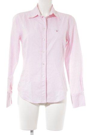 Gant Langarmhemd weiß-rosa Schriftzug gestickt Business-Look