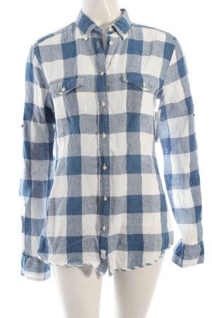 Gant Langarmhemd weiß-stahlblau Vichykaromuster Casual-Look