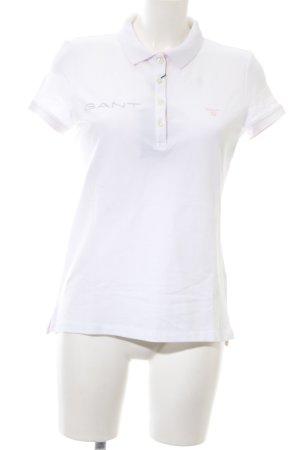 Gant Polo-Shirt weiß Schriftzug gestickt Casual-Look