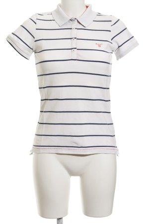 Gant Polo-Shirt weiß-dunkelblau Streifenmuster Casual-Look