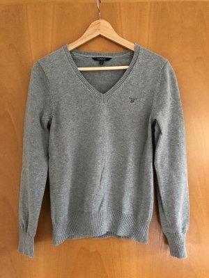 Gant Knitted Sweater light grey-grey cotton