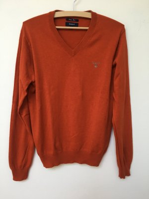 Gant V-Neck Sweater cognac-coloured-dark orange