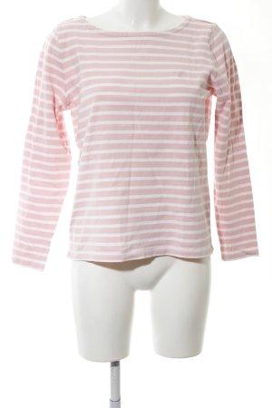 Gant Rundhalspullover weiß-pink Streifenmuster Casual-Look