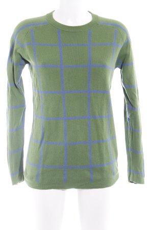 Gant Crewneck Sweater grass green-cornflower blue check pattern casual look