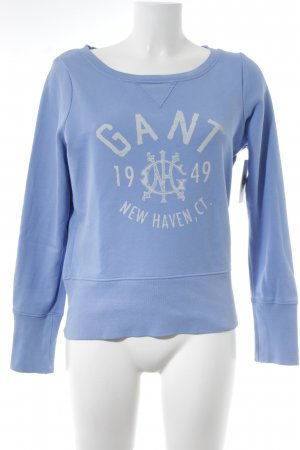 Gant Rundhalspullover himmelblau Schriftzug gedruckt Street-Fashion-Look