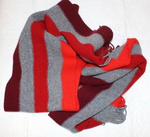 Gant Bufanda de flecos rojo-gris Lana