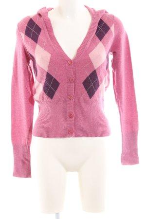 Gant Strickjacke pink-lila Karomuster Casual-Look