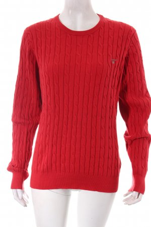 Gant Strickpullover rot Zopfmuster Casual-Look