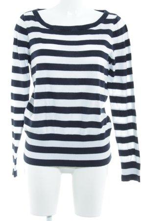 Gant Strickpullover weiß-dunkelblau Streifenmuster Casual-Look