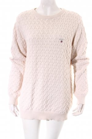 Gant Strickpullover wollweiß Zopfmuster Casual-Look