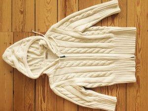 Gant Strickpullover wollweiß, Zopfmuster, weiß
