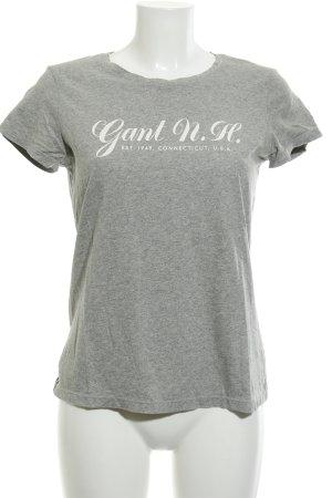 Gant T-Shirt hellgrau-weiß Schriftzug gedruckt schlichter Stil