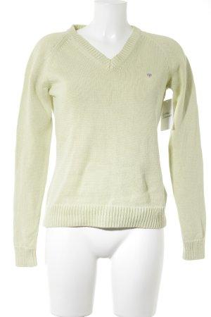 Gant V-Ausschnitt-Pullover blassgrün klassischer Stil