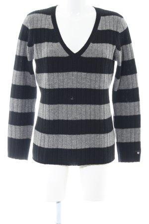 Gant V-Ausschnitt-Pullover schwarz-hellgrau Streifenmuster Casual-Look