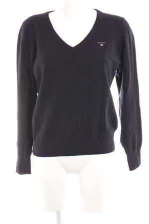 Gant V-Ausschnitt-Pullover dunkelblau klassischer Stil