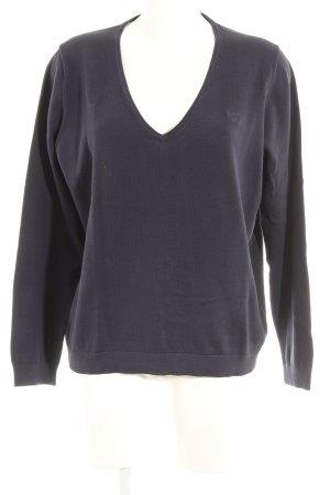 Gant V-Ausschnitt-Pullover dunkelblau schlichter Stil