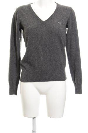 Gant V-Ausschnitt-Pullover dunkelgrau Casual-Look