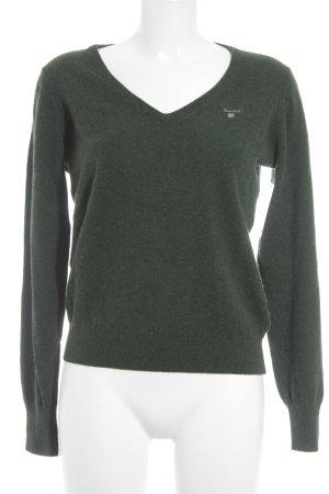 Gant V-Ausschnitt-Pullover dunkelgrün Casual-Look